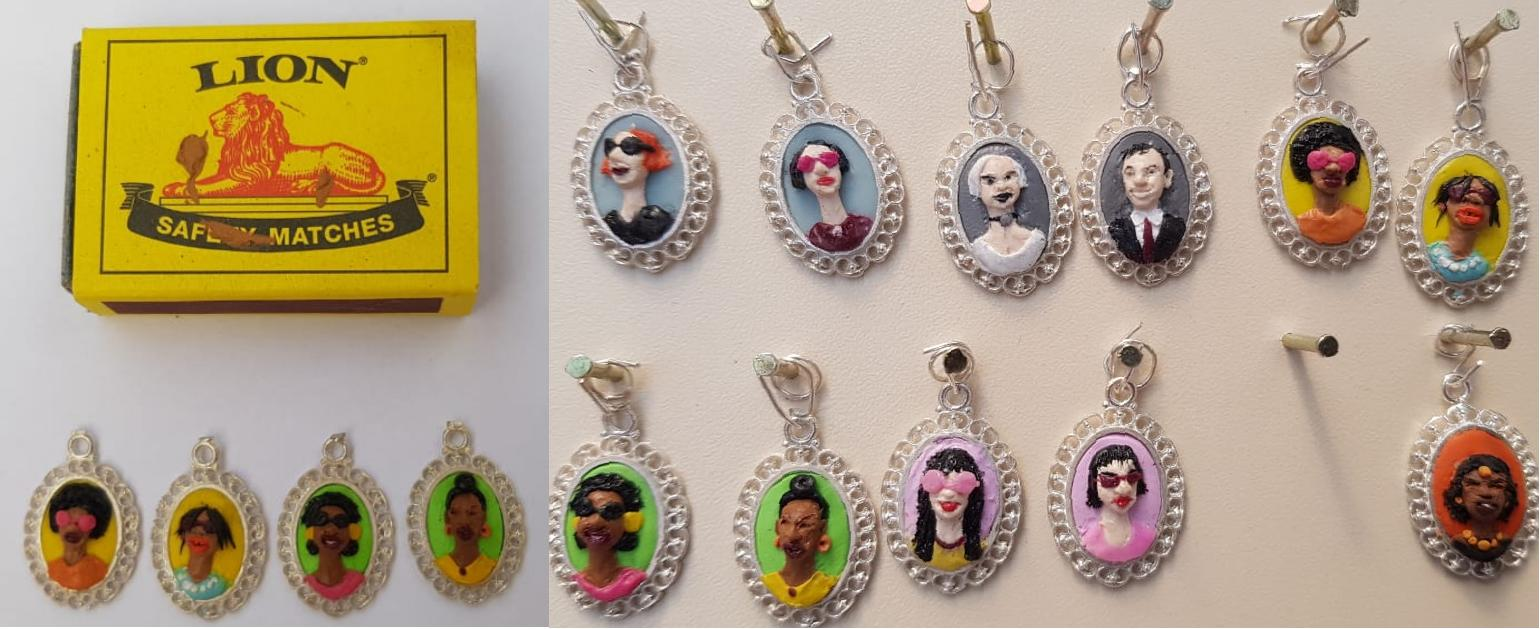 Portrait polymer clay jewellery - left view showing relative size